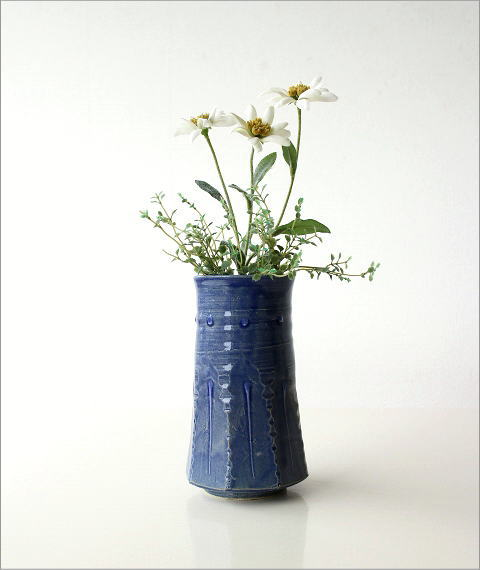 和陶器ベース 青釉削ぎ花入れ(4)