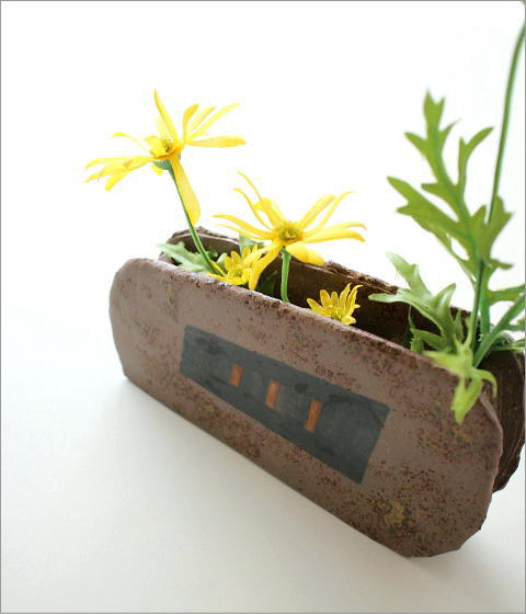和陶器ベース 焼〆黒紋(1)