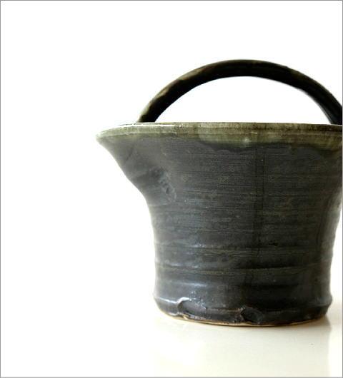 和陶器ベース 黒釉手付(4)