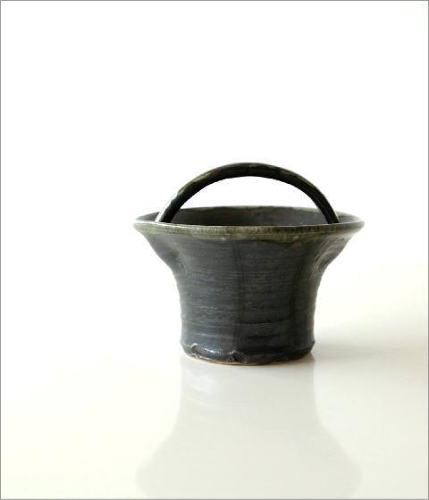 和陶器ベース 黒釉手付(5)