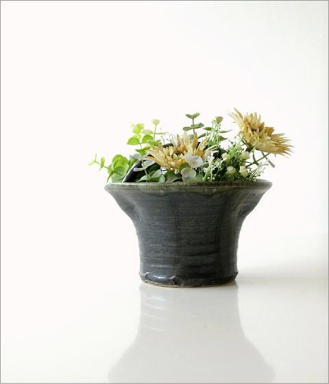 和陶器ベース 黒釉手付(6)