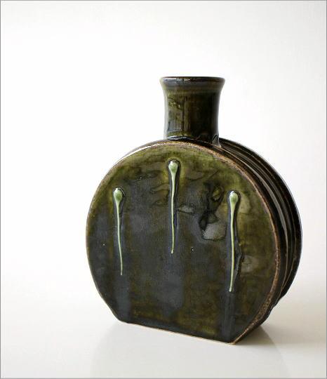 窯変織部 水筒型花入れ(2)