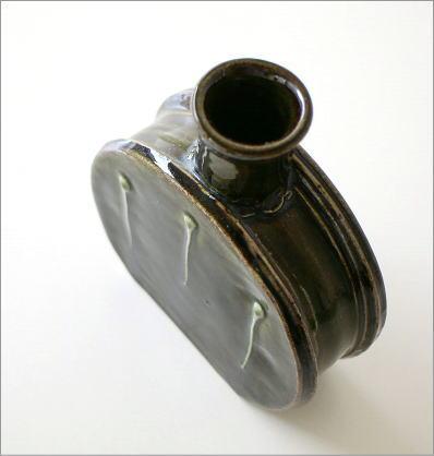 窯変織部 水筒型花入れ(3)