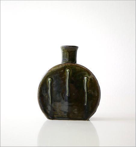 窯変織部 水筒型花入れ(5)