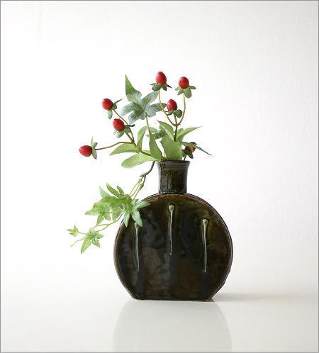 窯変織部 水筒型花入れ(6)