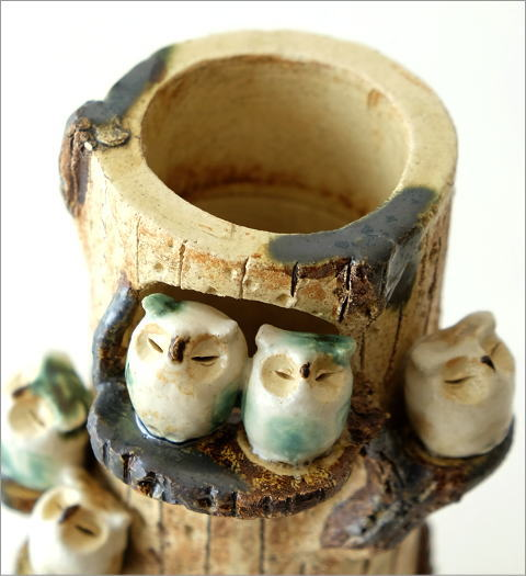 ふくろう家族の花瓶(2)