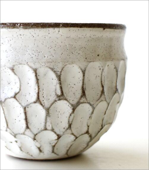 粉引重彫 湯呑(2)