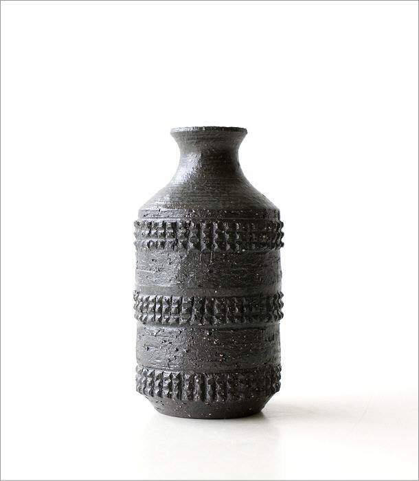 黒陶 筒型 花入れB(4)