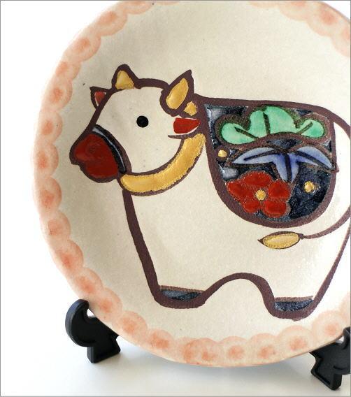 干支 丑 絵皿(スタンド付き)(2)