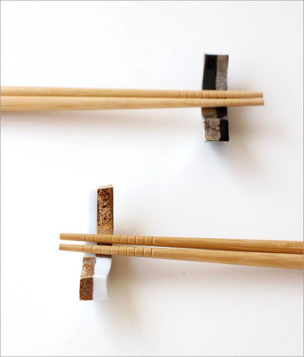 陶器の箸置き 市松長角2カラーセット(1)