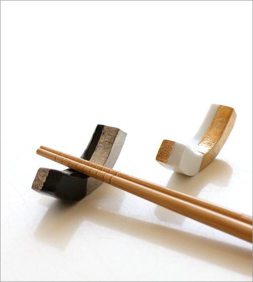 陶器の箸置き 市松長角2カラーセット(2)