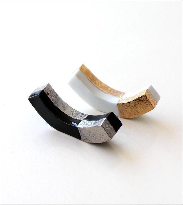 陶器の箸置き 市松長角2カラーセット(3)