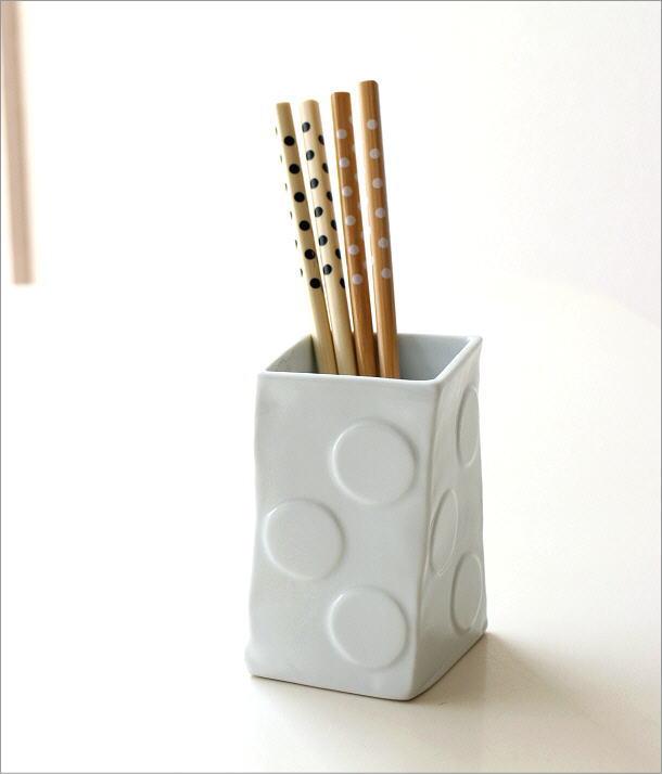 陶器の箸立て 白磁(1)