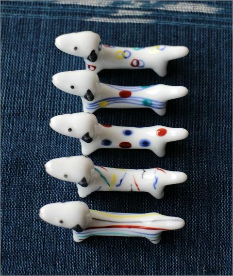 陶器の箸置き ダックス5個セット(2)