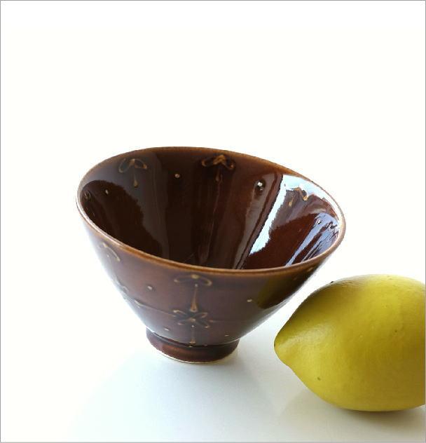飯碗 アメ釉一珍リボン(1)