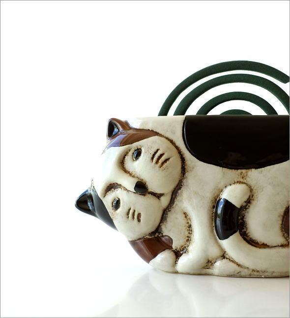 陶器の蚊遣り ミケネコ(1)