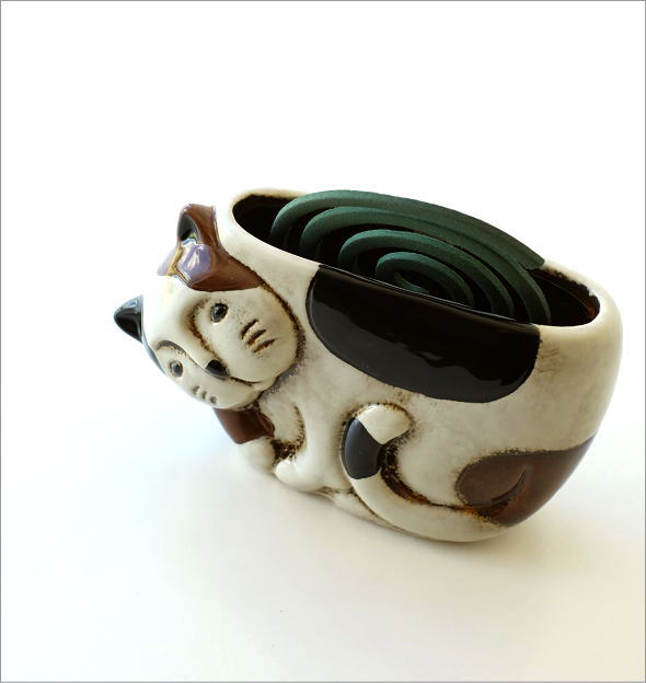 陶器の蚊遣り ミケネコ(2)