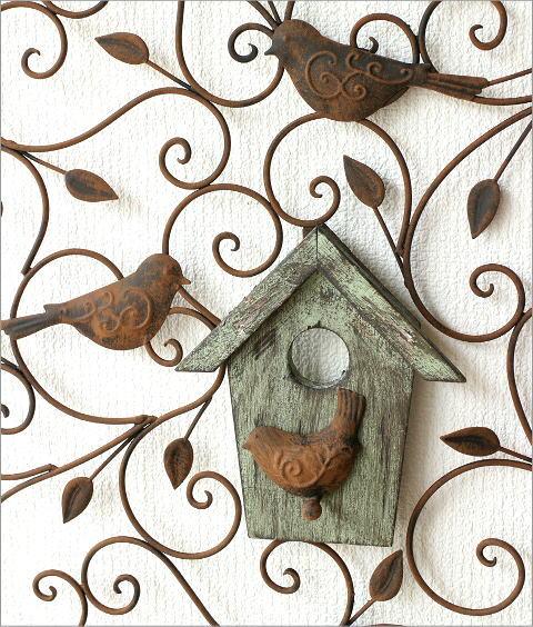 アイアンの壁飾り ウッドバードハウス(2)