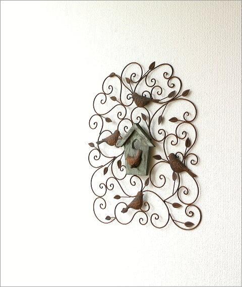 アイアンの壁飾り ウッドバードハウス(5)