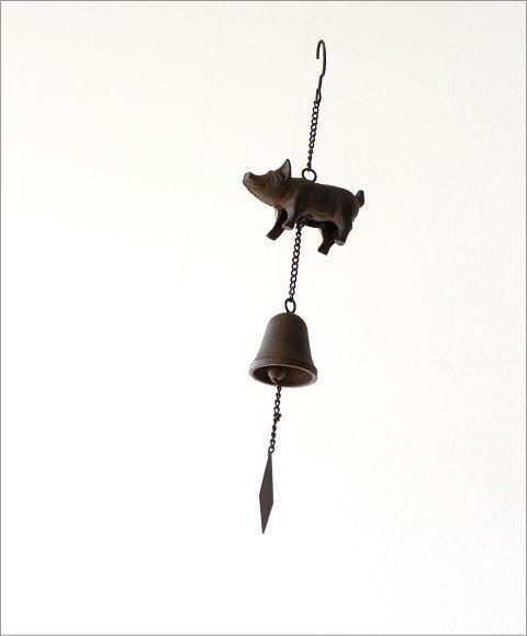 アイアンの吊り下げベル ピッグ(1)