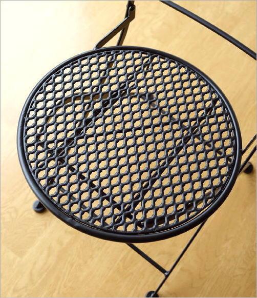 アイアン折り畳みガーデンチェア BK(4)