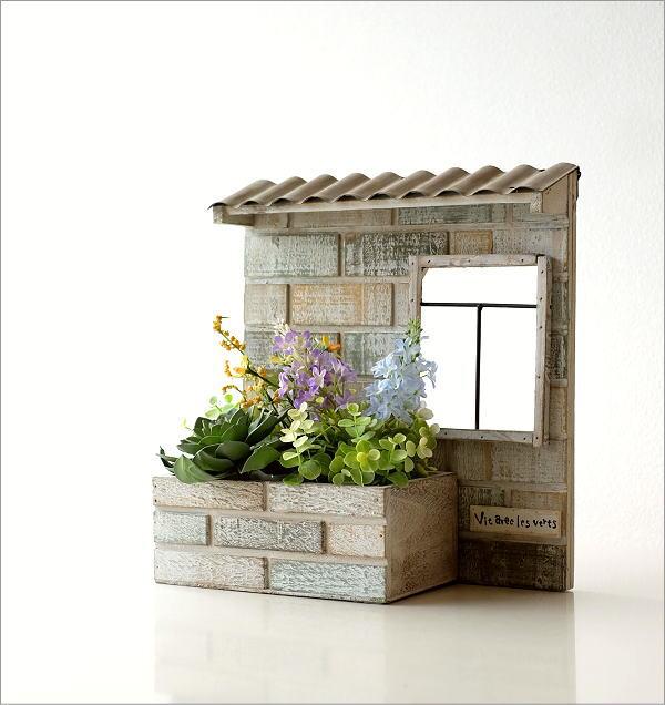 レンガ風ウッド壁掛プランター ガーデン(1)