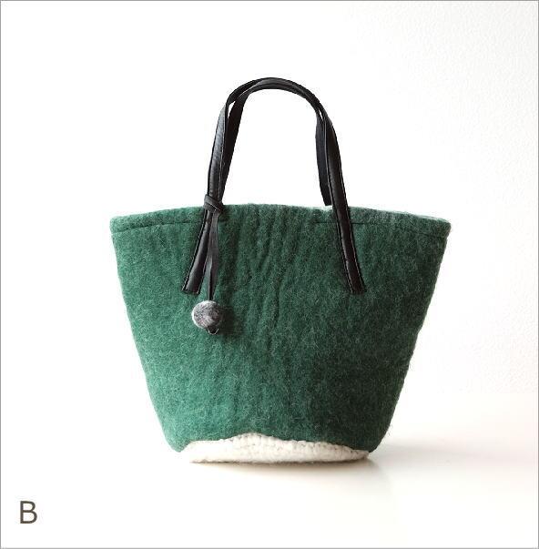 底モヘアバケツ型バッグ2カラー(2)