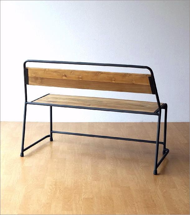 アイアンとオールドチークウッドのベンチ(5)