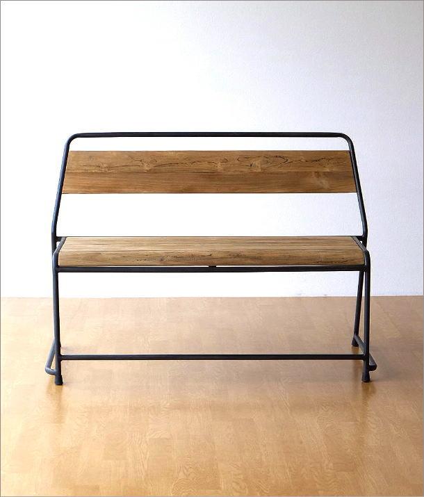 アイアンとオールドチークウッドのベンチ(6)