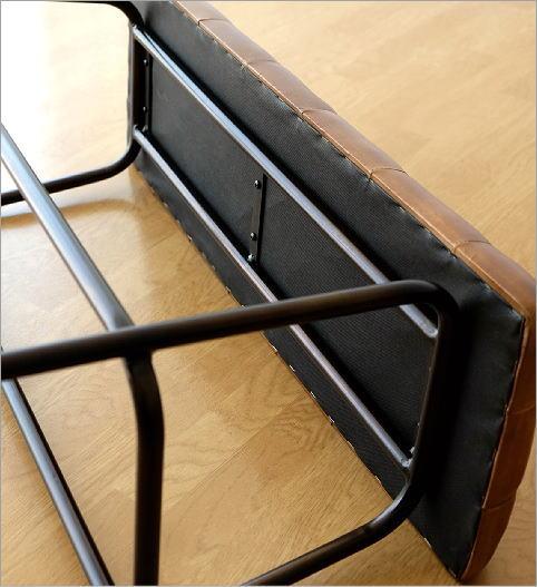 アイアンとレザーのベンチ(4)