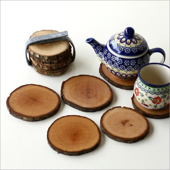 天然木のコースターセット 2タイプ(1)