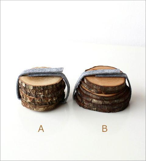天然木のコースターセット 2タイプ(4)