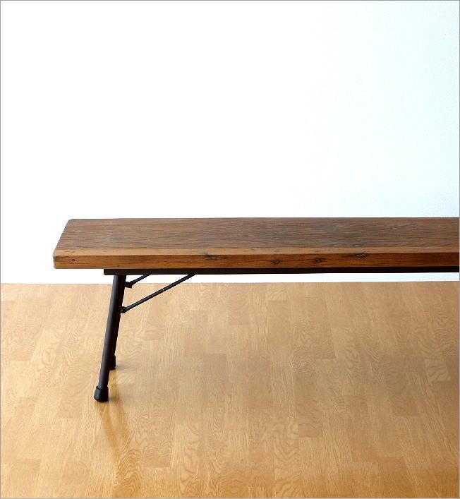 シャビーシックな折り畳みロングベンチ(1)