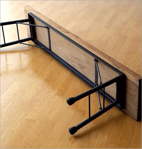 シャビーシックな折り畳みロングベンチ(5)