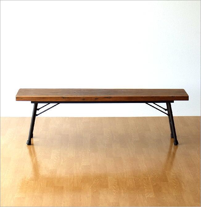 シャビーシックな折り畳みロングベンチ(6)