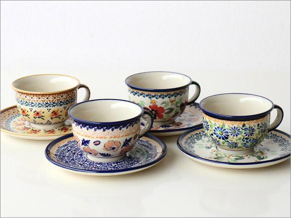 ポーランド陶器のカップ&ソーサー4タイプ(7)
