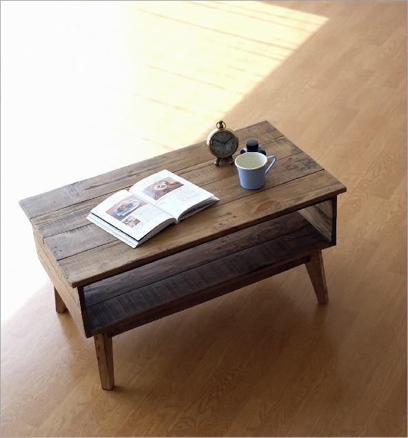 シャビーシックな棚付きローテーブル(1)