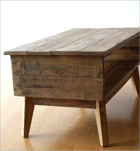 シャビーシックな棚付きローテーブル(5)