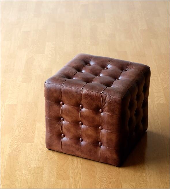 かっこいい 椅子 レザースツール キューブ(5)