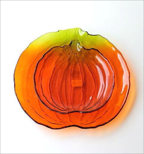 パンプキンガラスプレート大小2枚セット(2)