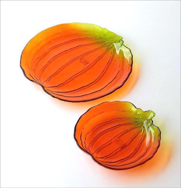 パンプキンガラスプレート大小2枚セット(4)