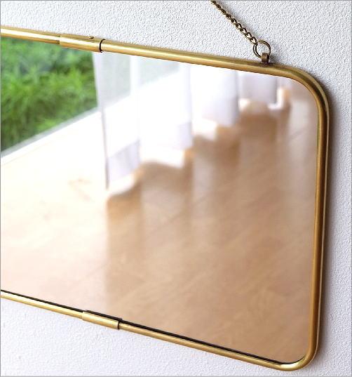 真鍮の壁掛けミラーL(2)
