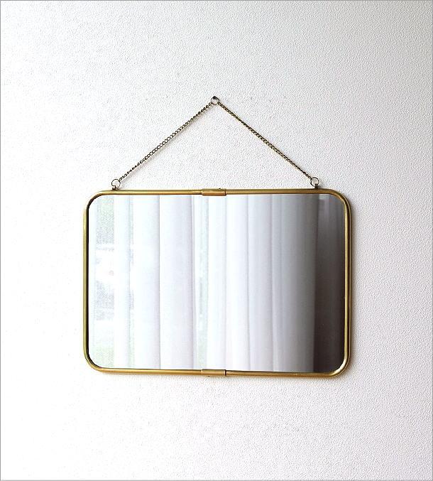 真鍮の壁掛けミラーL(4)