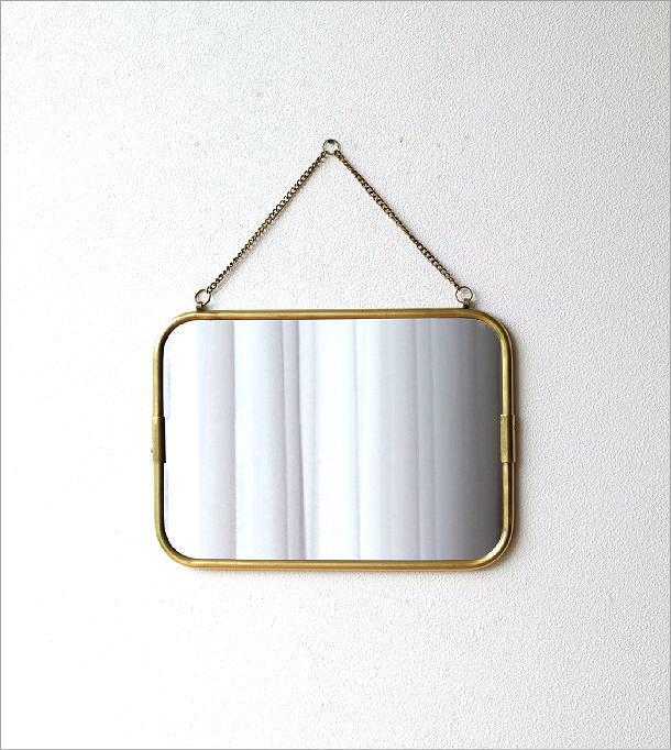 真鍮の壁掛けミラーM(4)