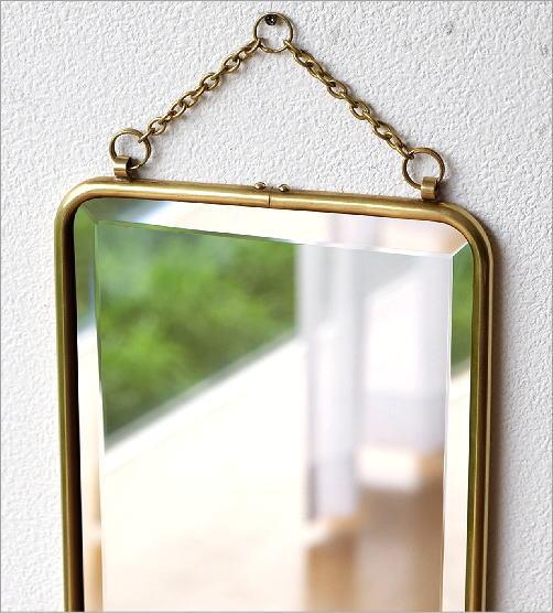 真鍮の壁掛けミラーロング(2)