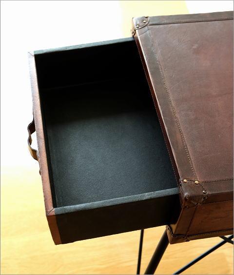 サイドテーブル トランク風 レザー・スツール・ストレージ (3)