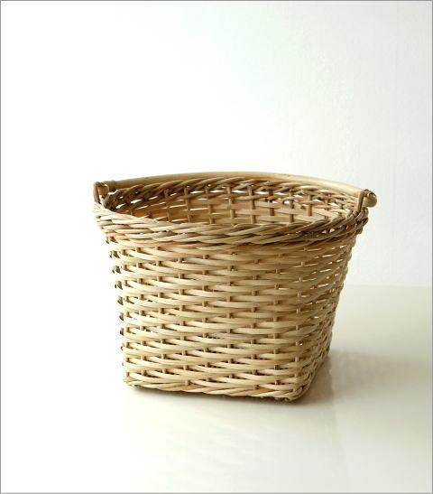 ラタンラウンド手つきバスケット(4)