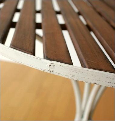 ホワイトアイアンとウッドのガーデンテーブル(3)