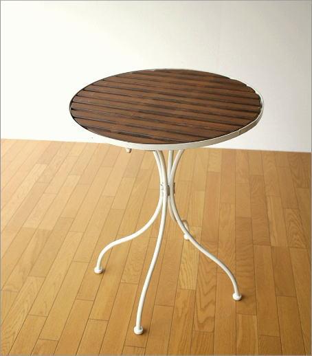 ホワイトアイアンとウッドのガーデンテーブル(6)