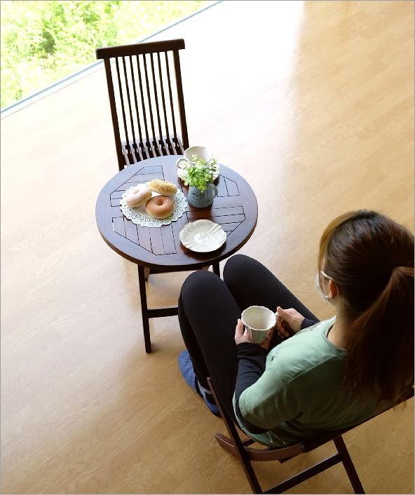 チークスモールテーブル&チェアーセット(1)